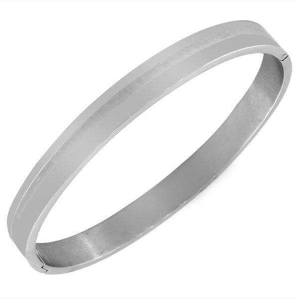 Stainless Steel Oval-Shape Silver-Tone Classic Matte Polished Bangle Bracelet