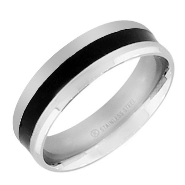 Stainless Steel Black Enamel Silver-Tone Polished Ring Band - Size 13