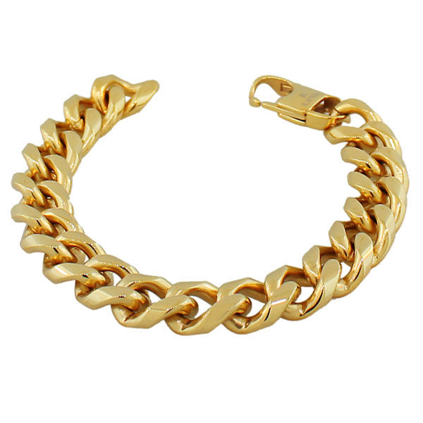 Stainless Steel Yellow Gold-Tone Men's Classic Link Cuban Chain Bracelet