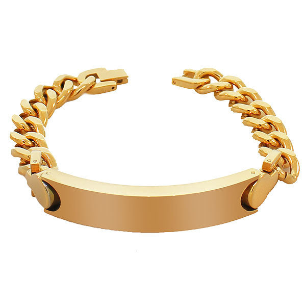 Stainless Steel Yellow Gold-Tone Polished Name Tag Men's Link Chain Bracelet