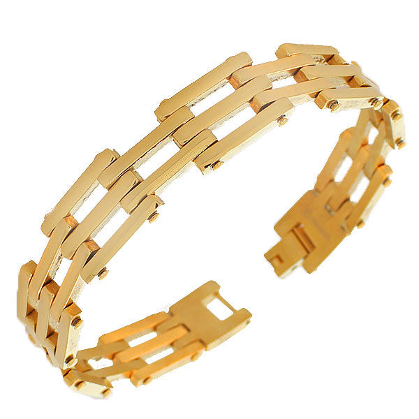 Stainless Steel Yellow Gold-Tone Polished Men's Link Chain Bracelet