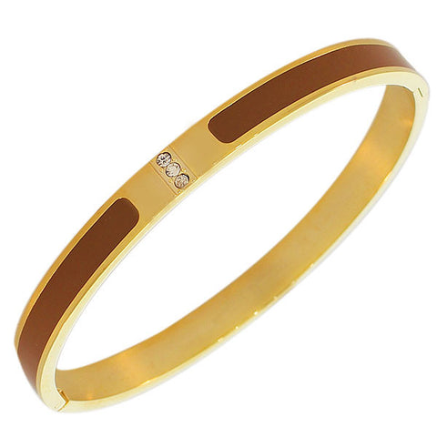 Stainless Steel Yellow Gold-Tone Brown Enamel White CZ Oval-Shape Bangle Bracelet