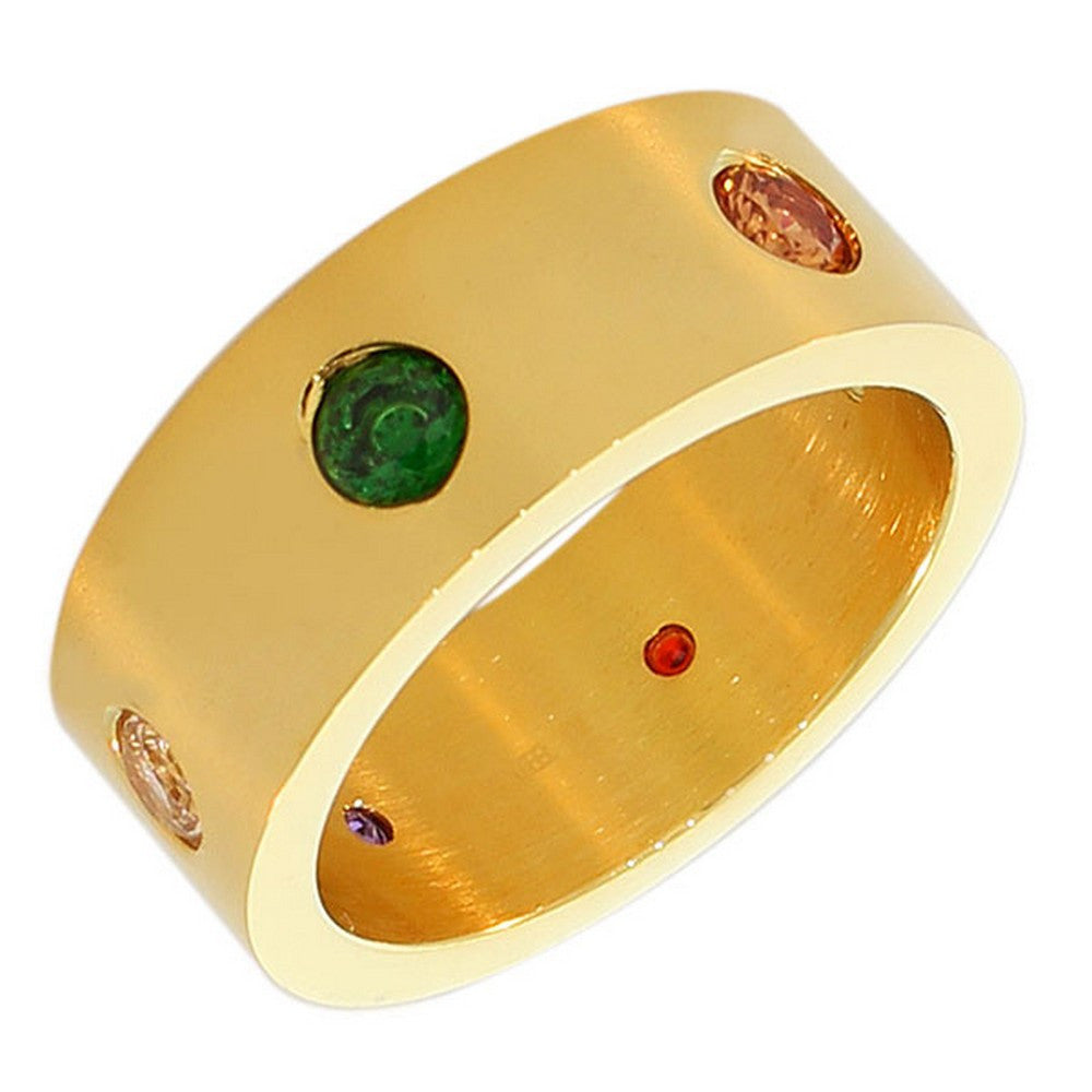 Stainless Steel Yellow Gold-Tone Multicolor CZ Ring Band - Size 9