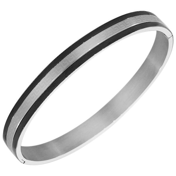 Stainless Steel Silver-Tone Black Polished Greek Key Oval-Shape Men's Bracelet