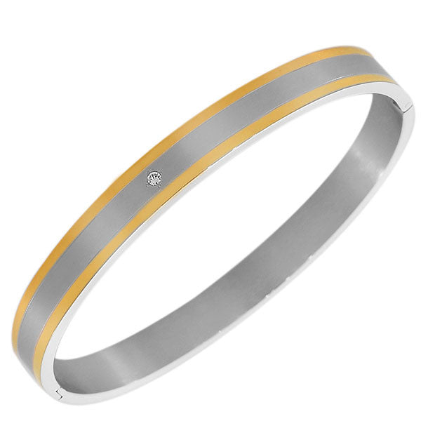 Stainless Steel Yellow Gold Silver-Tone White CZ Matte Polished Oval-Shape Men's Bracelet
