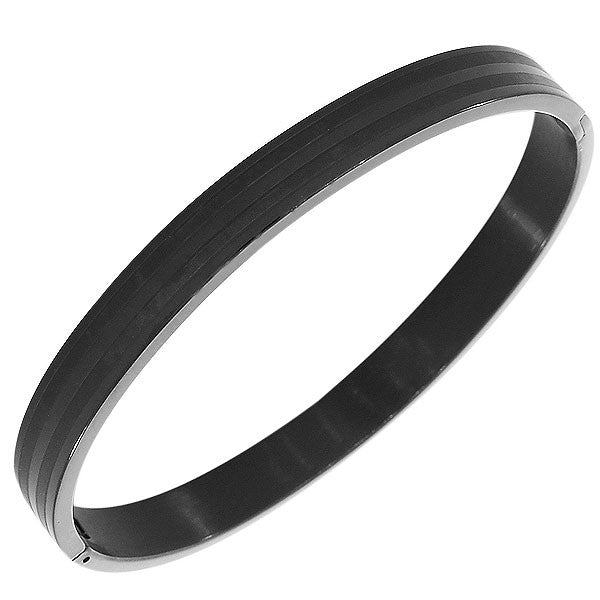 Stainless Steel Black Matte Polished Classic Oval-Shape Men's Bracelet