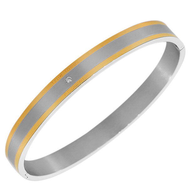 Stainless Steel Two-Tone White CZ Matte Polished Love Forever Oval-Shape Men's Bracelet