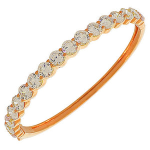 925 Sterling Silver Rose Gold-Tone White CZ Oval Bangle Bracelet