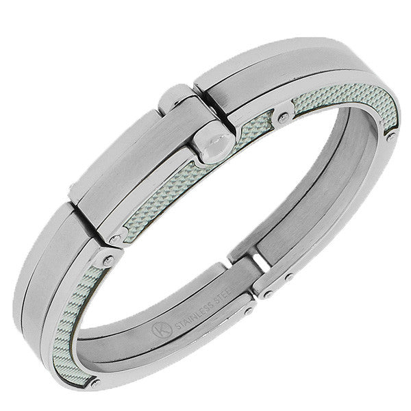Stainless Steel Silver-Tone Simulated Carbon Fiber Handcuff Men's Bracelet