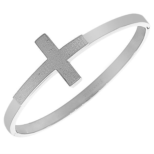 Stainless Steel Silver-Tone Classic Religious Cross Prayer Spanish Bangle Bracelet