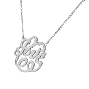 925 Sterling Silver Love Heart Circle Charm Pendant Necklace with Chain