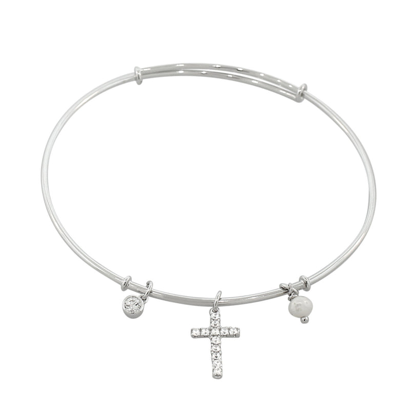 925 Sterling Silver Latin Cross Religious Simulated Pearl CZ Bangle Bracelet