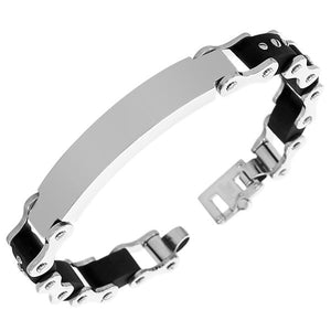 Stainless Steel Black Rubber Silicone Silver-Tone Polished Matte Men's Link Chain Bracelet