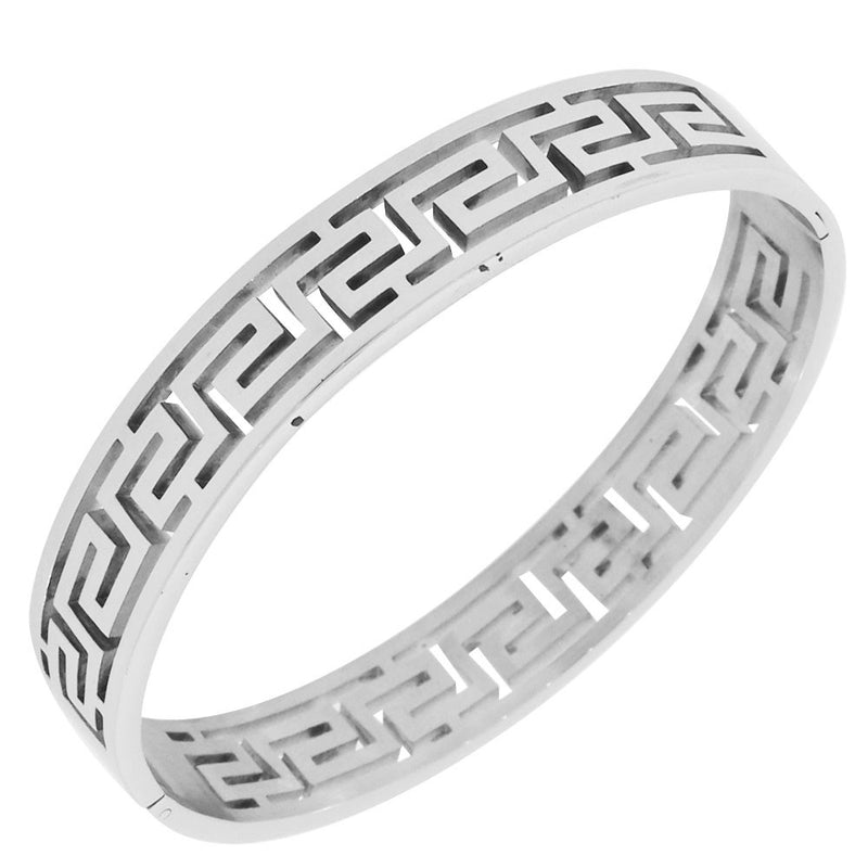 Greek Silver Cutout Bangle