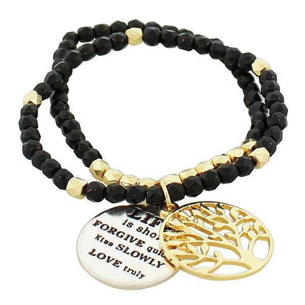 Fashion Alloy Black Gold-Tone Multicolor Tree of Life Quotation Stretch Beaded Bracelet
