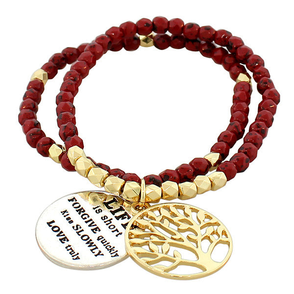 Fashion Alloy Red Gold-Tone Multicolor Tree of Life Quotation Stretch Beaded Bracelet
