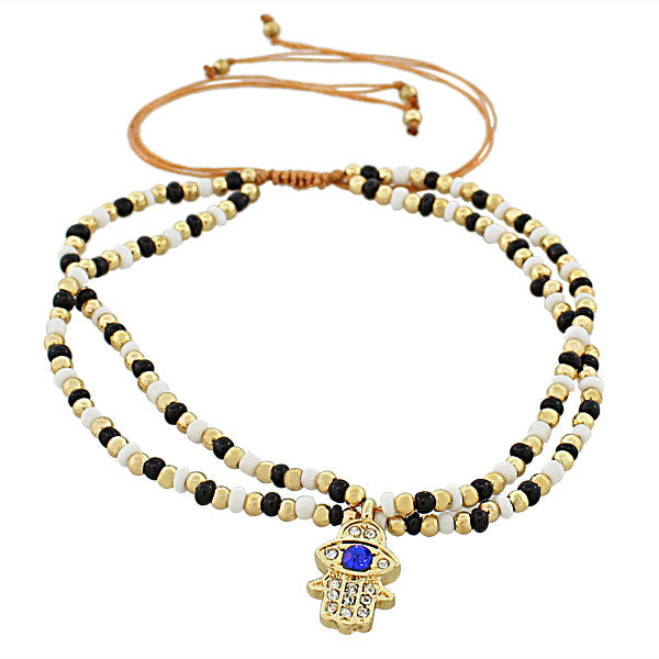 Fashion Alloy Black White Blue CZ Gold-Tone Hamsa Evil Eye Beaded Adjustable Bracelet