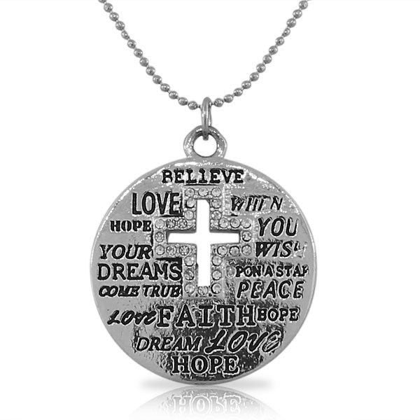 Fashion Alloy Silver-Tone Latin Cross White CZ Religious Pendant Necklace