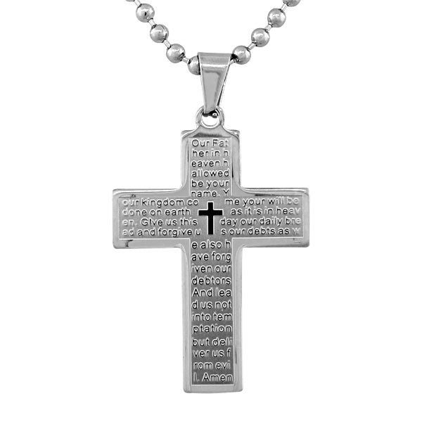 Stainless Steel Silver-Tone Large Cross Lord's Our Father Prayer English Pendant Necklace