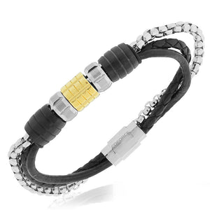 EDFORCE Stainless Steel Two-Tone Black Leather Chain Wristband Mens Bracelet, 7.5""