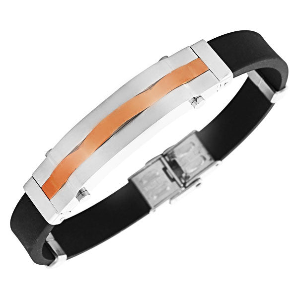 EDFORCE Stainless Steel Black Rubber Silicone Rose Gold-Tone Silver-Tone Men's Bracelet