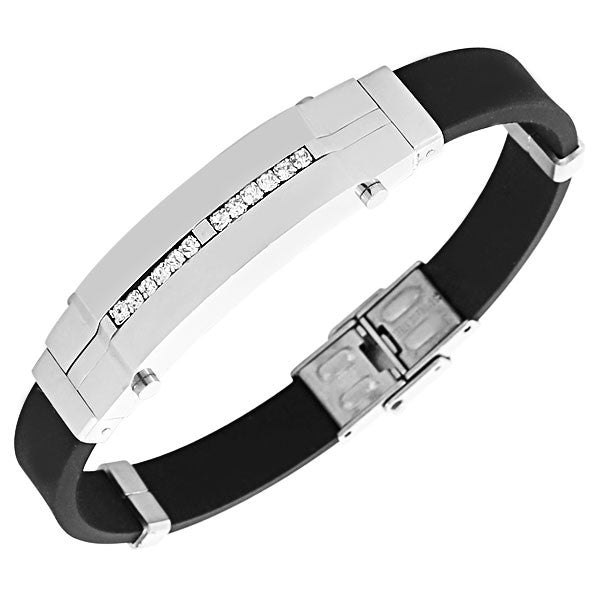 EDFORCE Stainless Steel Black Rubber Silicone Silver-Tone White CZ Men's Bracelet