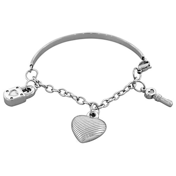 EDFORCE Stainless Steel Silver-Tone Love Heart Key Padlock Bangle Bracelet