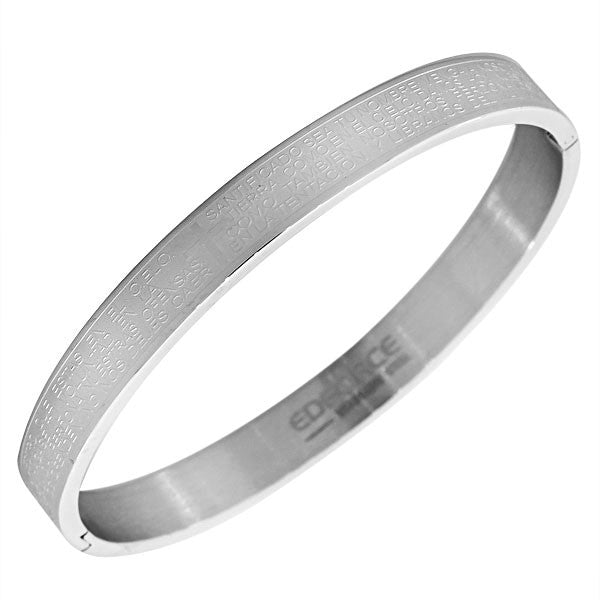 EDFORCE Stainless Steel Silver-Tone Men's Religious Lord's Prayer Padre Nuestro Spanish Bracelet