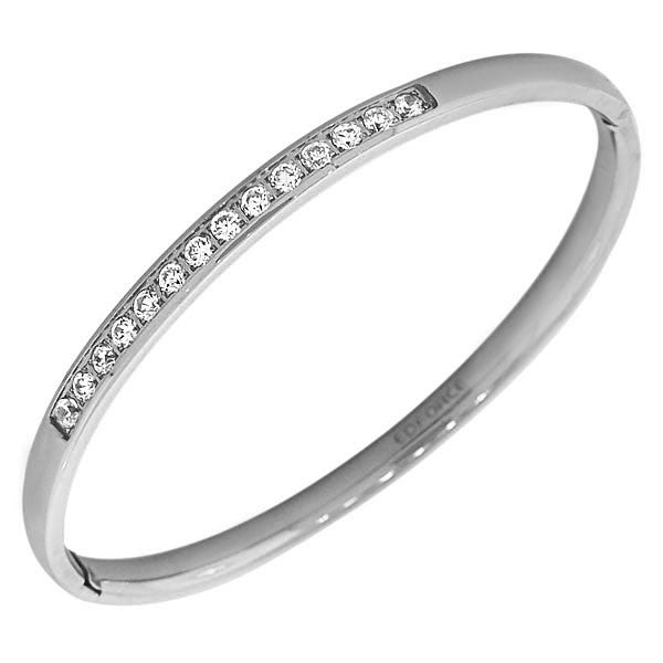EDFORCE Stainless Steel Silver-Tone Classic Oval-Shape White CZ Cuff Bangle Bracelet