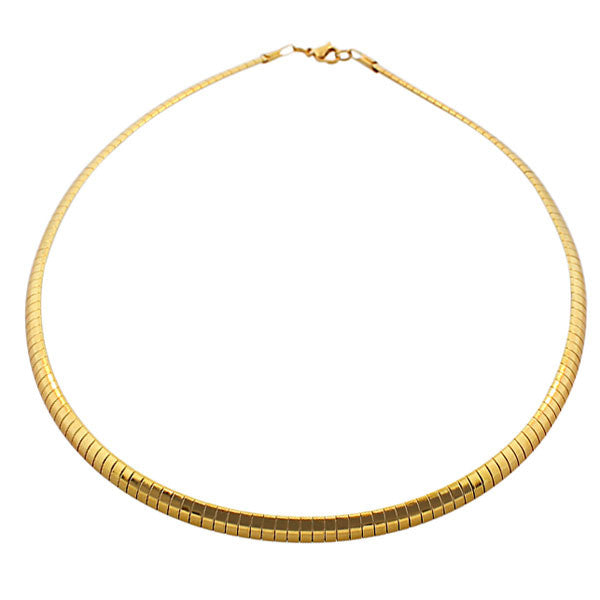 EDFORCE Stainless Steel Yellow Gold-Tone Classic Choker Necklace