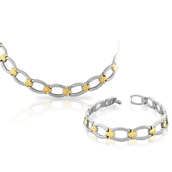 EDFORCE Stainless Steel Two-Tone Chain Necklace Bracelet Set