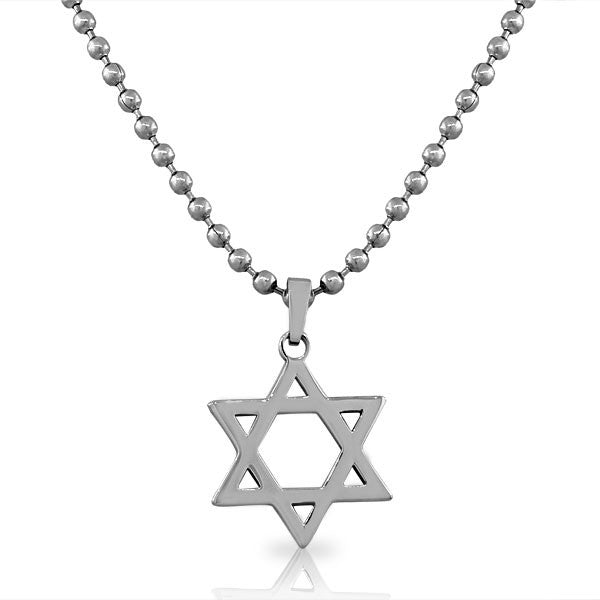 EDFORCE Stainless Steel Silver-Tone Classic Jewish Star of David Men's Boys Pendant Necklace