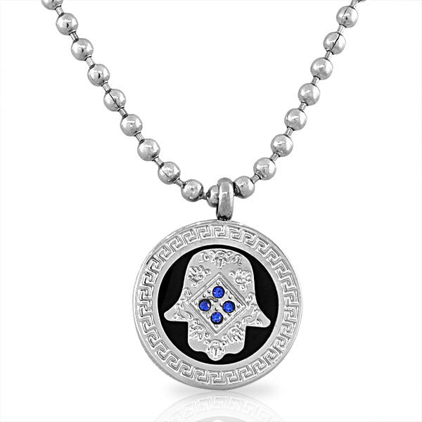 EDFORCE Stainless Steel Black Silver-Tone Hamsa Evil Eye Blue CZ Pendant Necklace