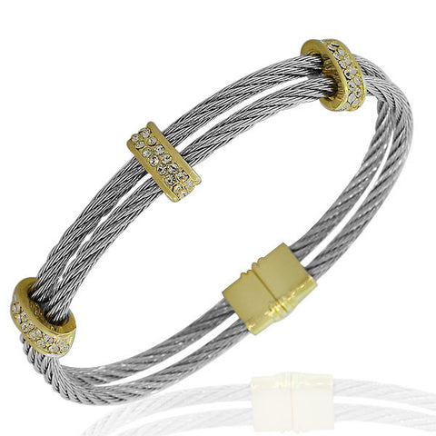Fashion Alloy Silver-Tone Yellow Gold-Tone White CZ Twisted Cable Bangle Bracelet