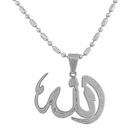 Stainless Steel Silver-Tone Muslim Islam God Allah Pendant Necklace