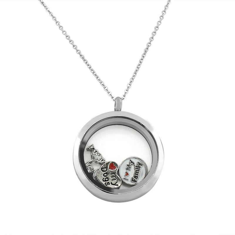 EDFORCE Stainless Steel Silver-Tone Floating Charms Dogs Family Mom Glass Locket Pendant Necklace - Charms Included