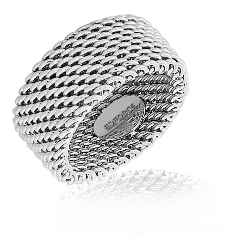 EDFORCE Stainless Steel Silver-Tone Mesh Design Wide Ring Band - Size 9