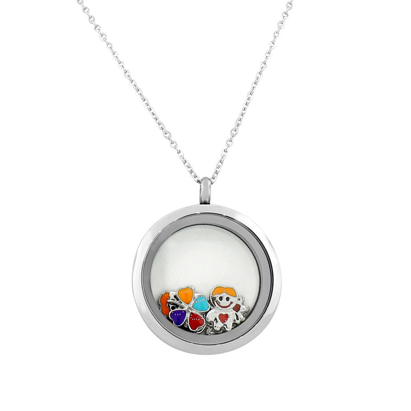 EDFORCE Stainless Steel Silver-Tone Floating Charms Kids Clover Glass Locket Pendant Necklace - Charms Included