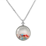 EDFORCE Stainless Steel Silver-Tone Floating Charms Faceted Multicolor Glass Pendant Necklace