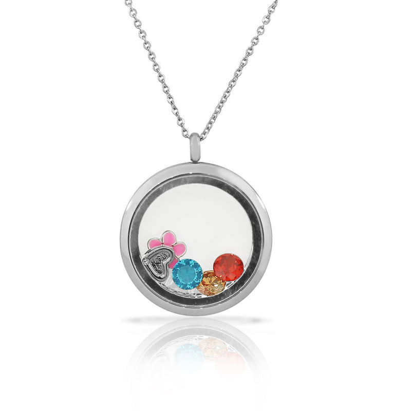 EDFORCE Stainless Steel Silver-Tone Floating Charms Flower Glass Locket Pendant Necklace - Charms Included