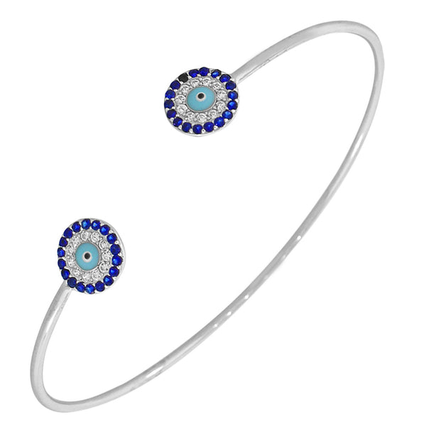 925 Sterling Silver White Blue CZ Protection Evil Eye Open End Bangle Bracelet