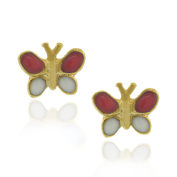 Fashion Alloy Yellow Gold-Tone White Pink Butterfly Stud Earrings