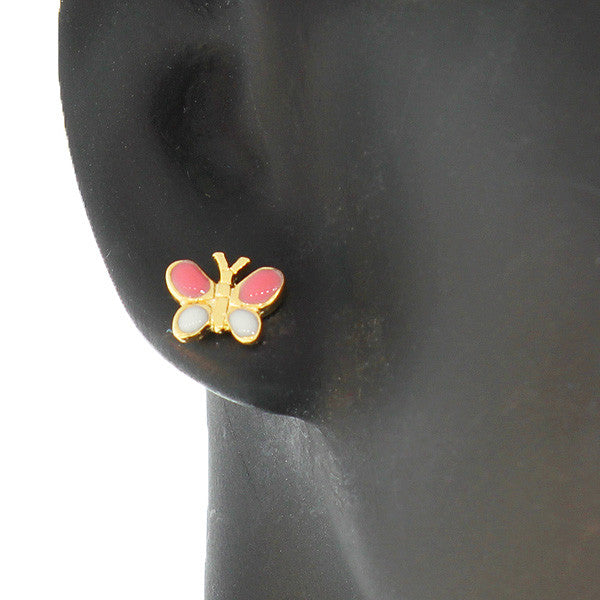 Pink Butterfly Studs