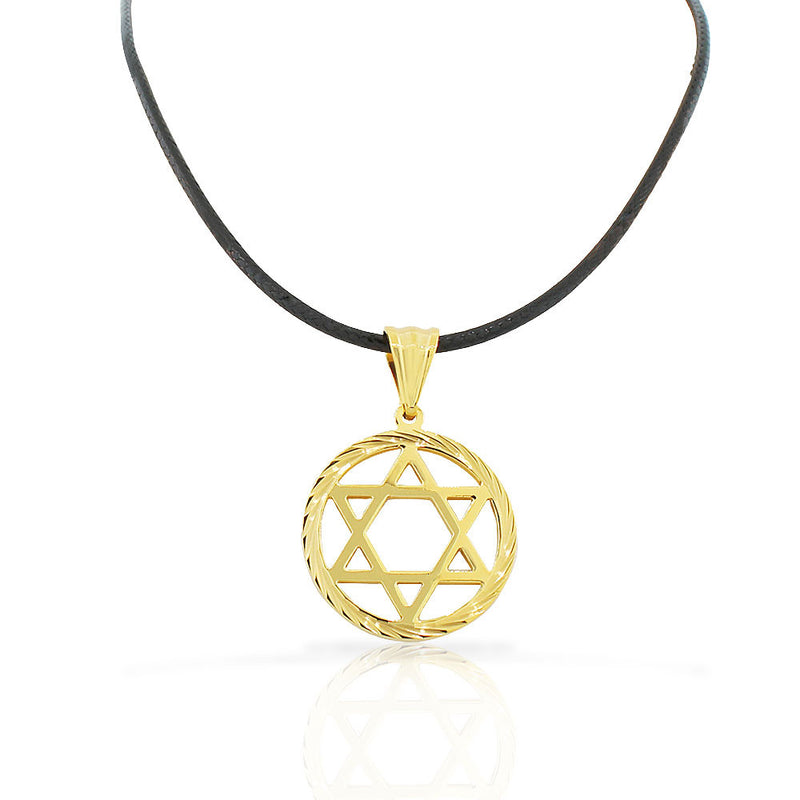 Stainless Steel Yellow Gold-Tone Classic Jewish Star of David Men's Boys Pendant Necklace