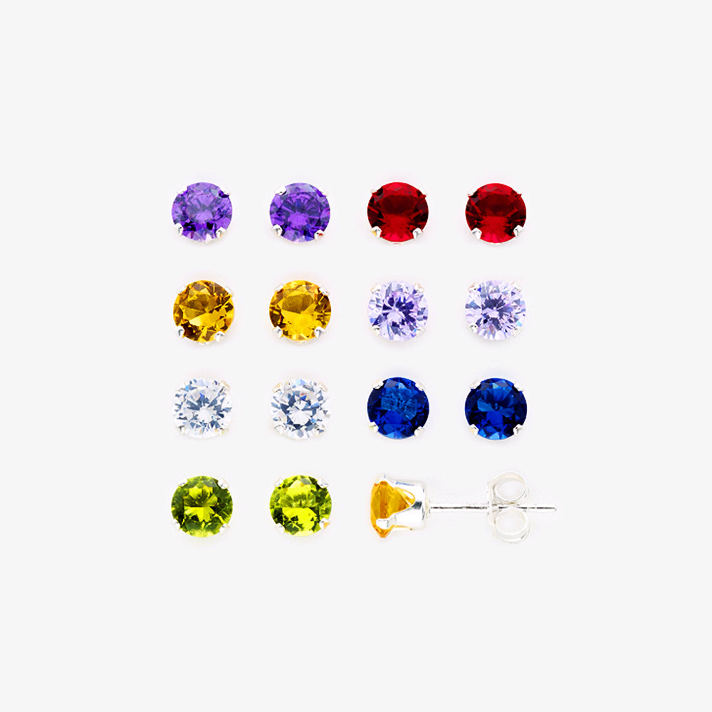 925 Sterling Silver Multicolor CZ Round Stud Earrings - 7 Pairs Set