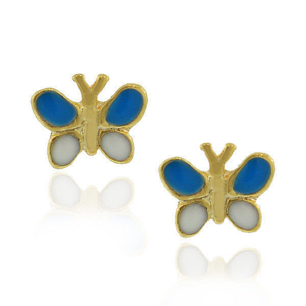 Fashion Alloy Yellow Gold-Tone White Blue Butterfly Stud Earrings