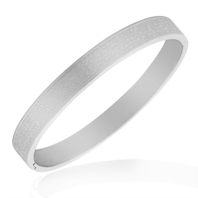 Stainless Steel Silver-Tone English Prayer Lord's Prayer Bangle Bracelet