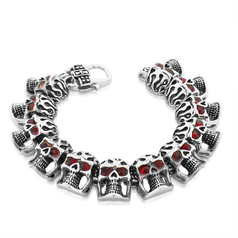 Stainless Steel Silver-Tone Red Ruby-Tone CZ Heavy Skull Men's Bracelet