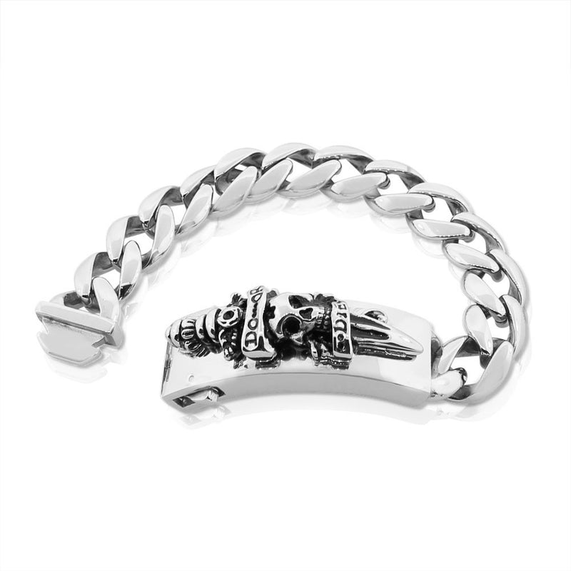 Stainless Steel Silver-Tone Skull Sword Do or Die Heavy Men's Chain Bracelet