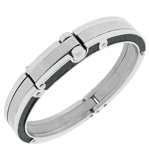 Stainless Steel Black Silver-Tone Simulated Carbon Fiber Handcuff Men's Bracelet